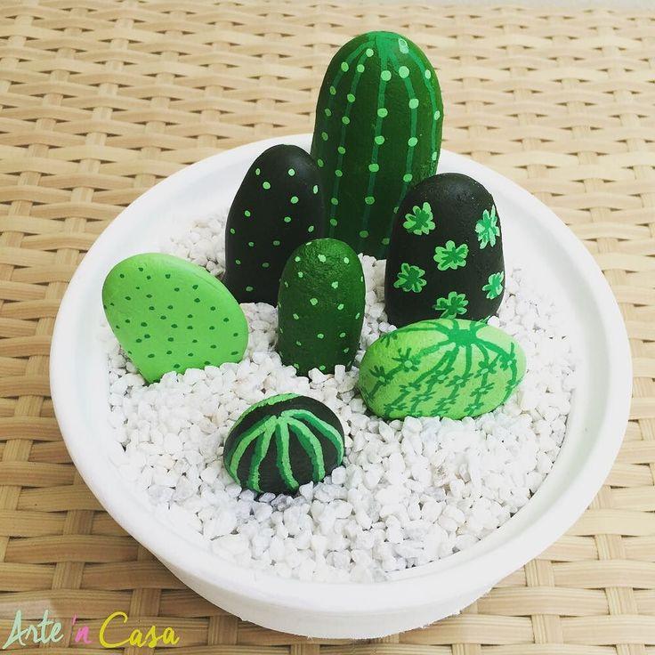 Haz tus propios cactus con piedras!!! Es muy divertido!!!