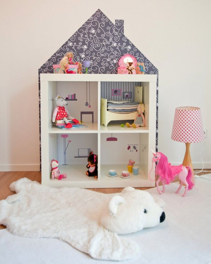 Ikea hack Kallax dollhouse using stickers