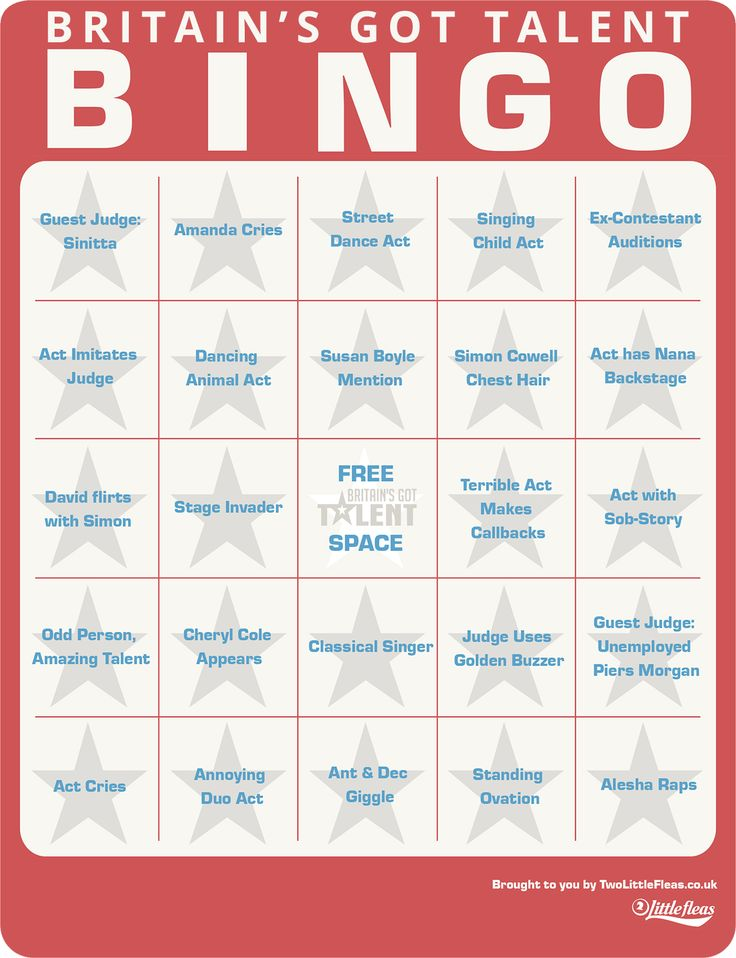 Britains got talent bingo