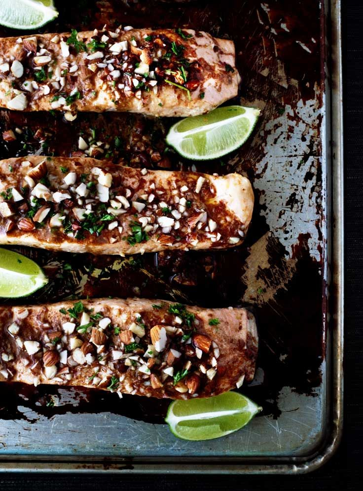 BAKED SALMON WITH WASABI SOY ALMONDS