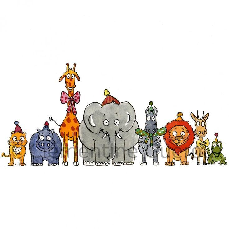 Affiche, reproduction d'une illustration déco animaux en fête pour chambre d'enfant : Décoration pour enfants par cleme-boutique