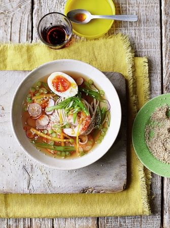 Clear Asian noodle soup with prawns
