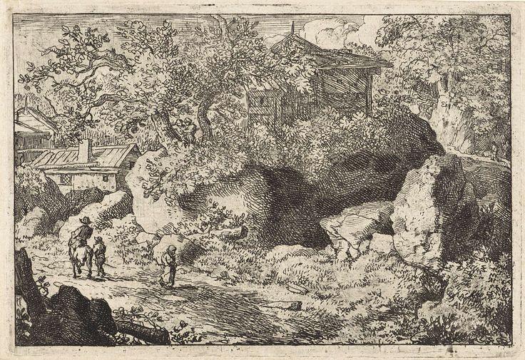 Allaert van Everdingen | Landschap met man te paard, Allaert van Everdingen, 1631 - 1675 | Landschap met enkele huizen tussen begroeide rotsen. Op de voorgrond een pad met een wandelaar, een man te paard en iemand te voet ernaast.