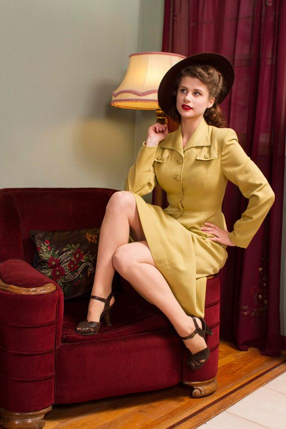 1940s Vintage Suit Rare Chartreuse Gabardine Tailored by FabGabs