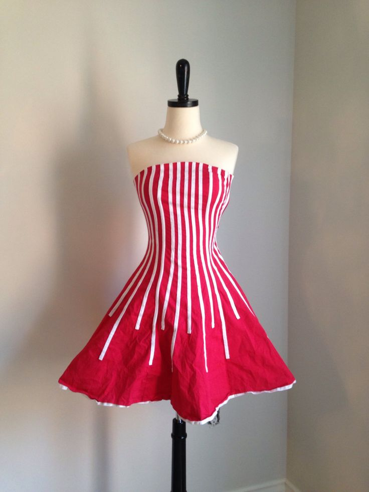 A personal favorite from my Etsy shop https://www.etsy.com/ca/listing/93633897/vintage-1980s-strapless-dress-red-white