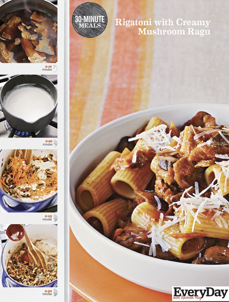 Rachael's Rigatoni with Creamy Mushroom Ragu 30-Minute Meal recipe