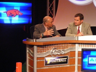 Never a dull moment when Arkansas Razorback Head Coach John L. Smith is in the house! Smith with CSS Talkin Football's Mark Schlabach at SEC Media Days 2012.: Coach John, Head Coach, House