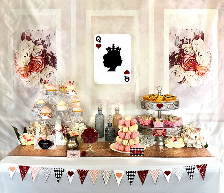 Beautiful Queen Of Hearts Dessert Table Styled By Halfpintdesign