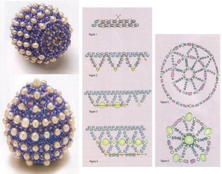 схема оплетения яйца бисером и жемчугом
