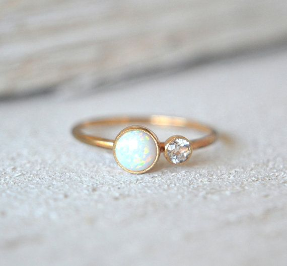 Gold Opal Ring. White Opal Ring Dainty Opal Ring by Metalvine