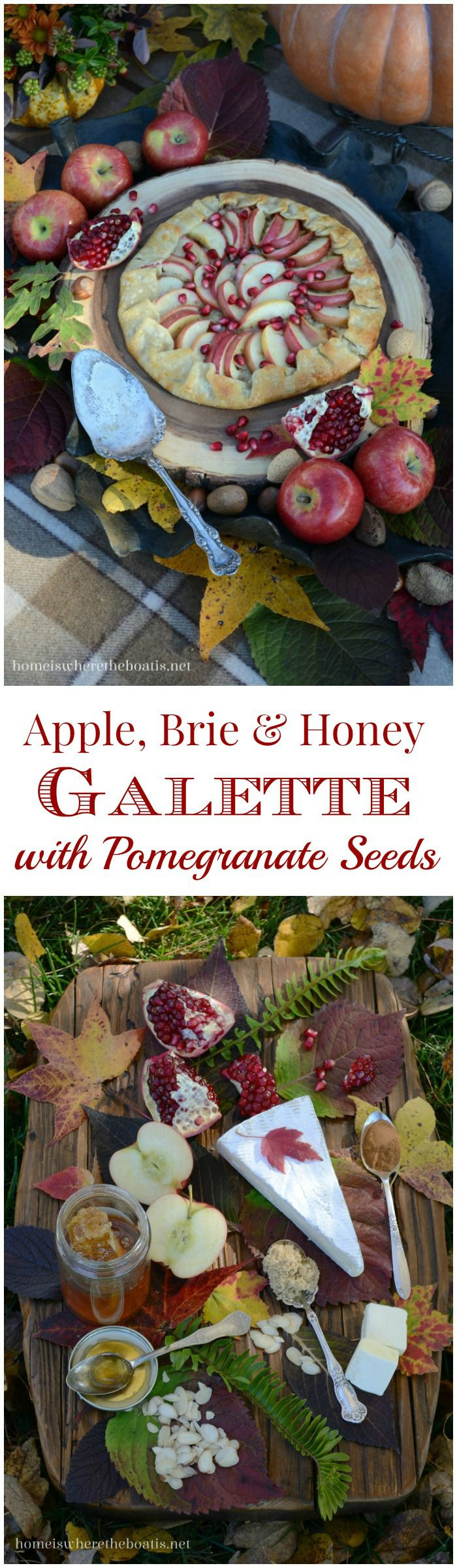 Easy, Brie-sy, Apple & Honey Galette with Pomegranate An easy and delicious recipe you can whip up using store-bought pie dough and just a few ingredients!