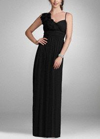 Make a statement in this fabulous evening dress!  Long evening dress is both stylish and classy.  Ruching at waist creates a slimming silhouette.  Features beautiful 3D chiffonfloral detail along one shoulder.  Fully lined. Back zip. Imported polyester. Dry clean only.