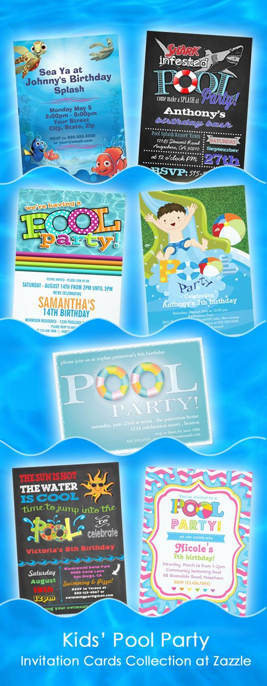 C A N N O N B A L L ! ! ! Pool Party Invites for girls and boys that make a splash! Cute kids' pool party invitations cards ...  collection at Zazzle #kidspoolparty