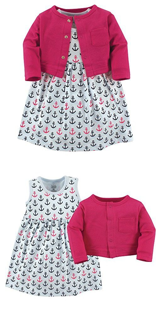Luvable Friends Baby Girls Dress And Cardigan Set Anchors 0 3