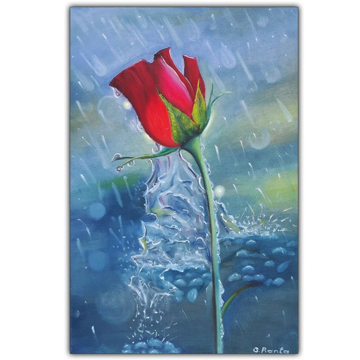 """Oil Painting """"Rose in a Rain"""""""