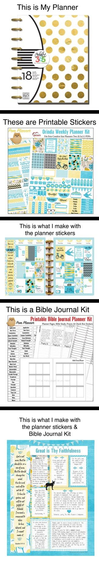 Bible journaling in a Happy Planner. #plannerstickers #plannerlove #Biblejournaling #pomplanner #BibleJournalKit