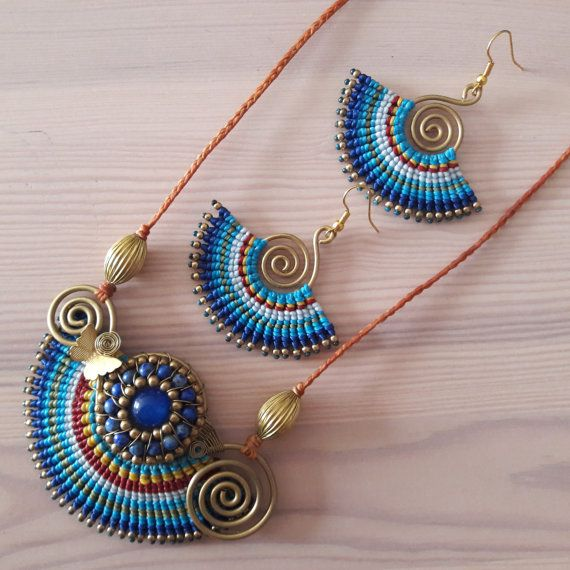 Welcome to Bohemian Style Thai Jewellery. You are looking at a dazzling blue macramé earring and necklace set!   www.bohemianstyleshop.etsy.com