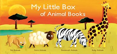 "My Little Box of Animal Books includes 4 all-board books for young toddlers to read, touch, and feel as they learn about these animals. As they turn the pages of each book, not only are they thrilled to discover superb photos and beautiful illustrations but they also have great fun touching the ""coat"" of each animal."