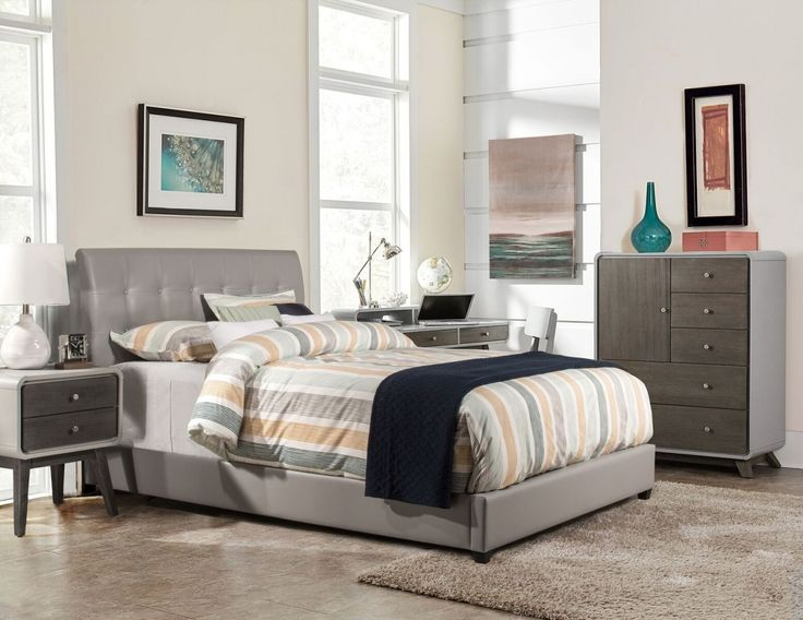 Hillsdale Furniture Lusso Grey Faux Leather Bed with Rails  Lusso King Bed 426 best Better in the Bedroom from Home and Patio Decor Center  . Grey Tufted Bedroom Set. Home Design Ideas