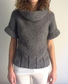 Jersey lana a dos agujas manga corta de señora