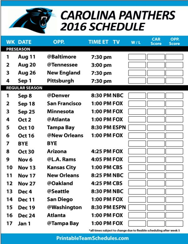 Carolina Panthers 2016 Schedule
