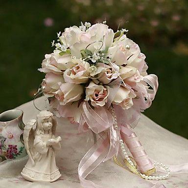 Elegant Round Shape Rose Small-Sized Bud Bridal Wedding Bouquet(More Colors) 2367088 2016 – $17.99