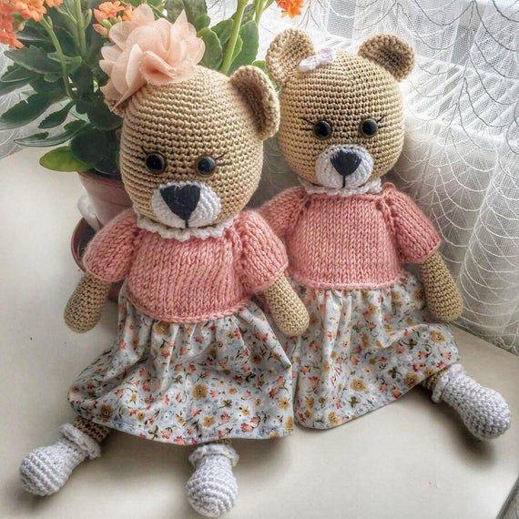 Buy Crochet Artwork Teddy Bear Amigurumi Handmade Soft Toy (Pink ... | 570x570