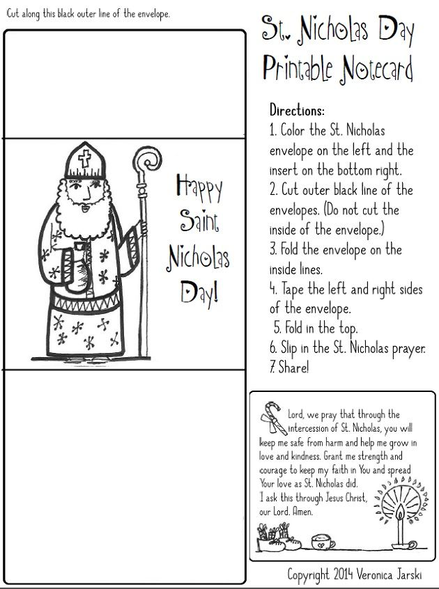 Saint Nicholas cards and coloring page, use these and then explain WHY he did what he did