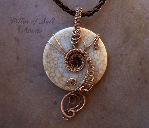 Gemstone pendant / Antique Agate and copper Wire Wrapped Pendant / wire wrapped jewelry by PillarOfSaltStudio