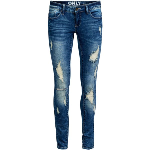 ONLY Coral Skinny Fit Jeans ($44) ❤ liked on Polyvore featuring jeans, pants, bottoms, calças, medium blue denim, skinny leg jeans, destroyed jeans, super distressed skinny jeans, denim skinny jeans and blue jeans