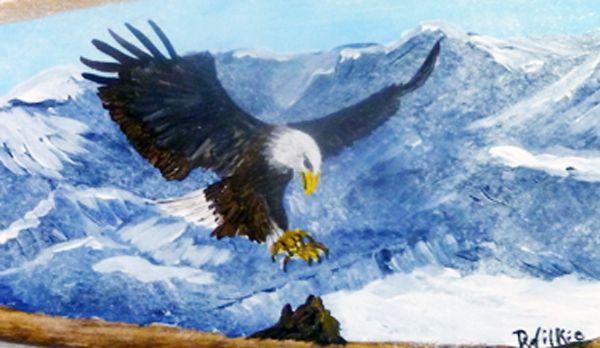 "Landing Eagle on 24"" canoe paddle done in acrylics"