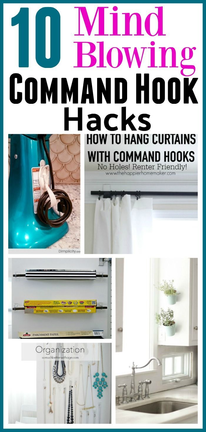 10 DIY Command Hook Hacks - Did you know that there are tons of ways to use Command Hooks besides the usual? Check out these 10 Command Hook hacks for some great inspiration! home organizing ideas, storage hacks, Things to Do With Command Hooks, Command Hook Hacks, Organizing with Command Hooks, How to Organize, Organization Hacks, Clutter Free Home