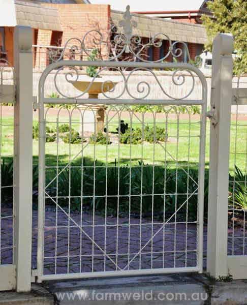 'Victorian' heritage emu wire pesonal access gate in Cheltenham, Adelaide.