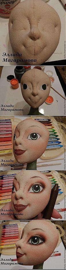 Pintura y tonificar los muñecos textiles faciales.  - Feria Maestros - hecho a mano, hecho a mano
