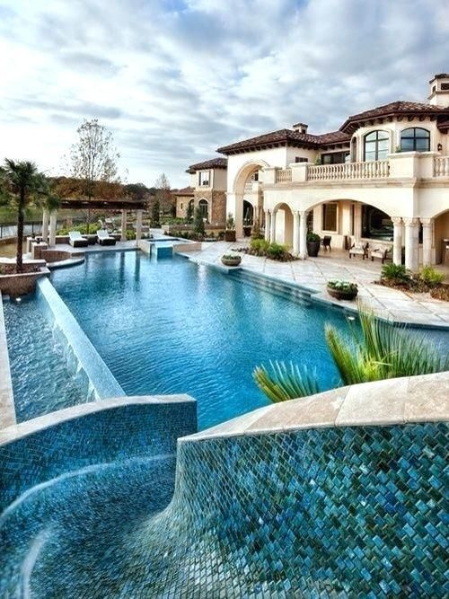 Mansion With Indoor Pool With Slides Inside Big Houses With Pools
