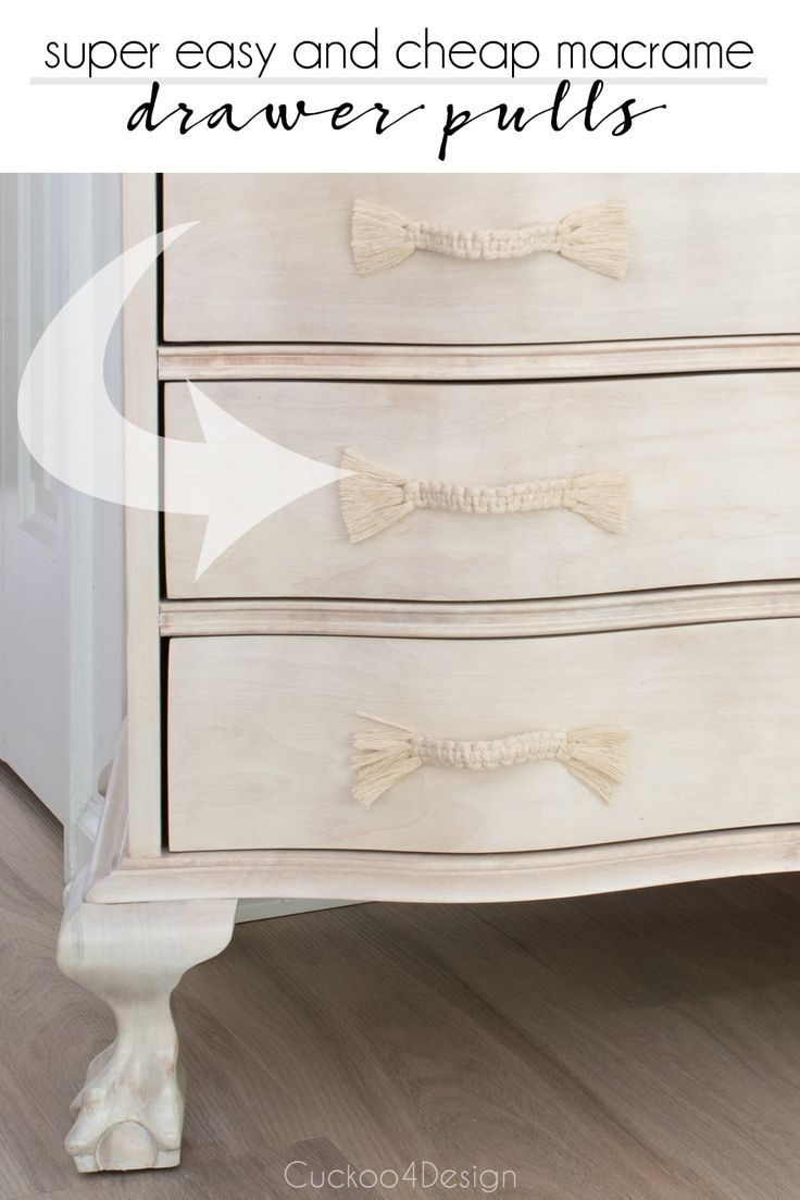 Super Easy And Cheap Diy Macrame Dresser Drawer Pulls Cuckoo4design In 2020 Diy Furniture Hardware Furniture Hardware Drawer Pulls Drawer Pulls Diy