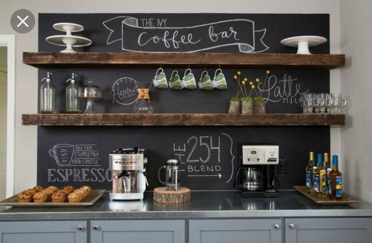 Kaffee-Ecke für die Küche. Halb so breit, aber mit Tafellack an der Rückseite und zwei dicken Regalbrettern.