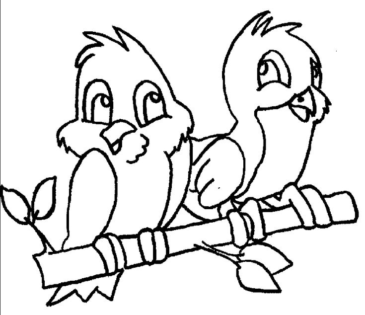 Two Kids Birds Coloring Pages