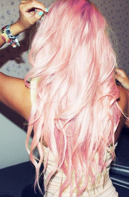 Pink long curly hair