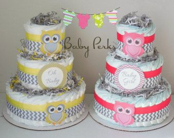 Jaune et gâteau de couches Grey Owl, décorations de douche de bébé, gris et jaune Baby Shower
