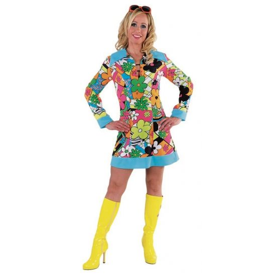 Verkleedkleding Hippie jurk dames  Hippie bloemen jurk voor dames. Hippie bloemen jurk voor dames met vrolijke kleuren. De hippie jurk met gekleurde bloemen valt tot boven de knie en is verkrijgbaar in diverse damesmaten.  EUR 39.95  Meer informatie