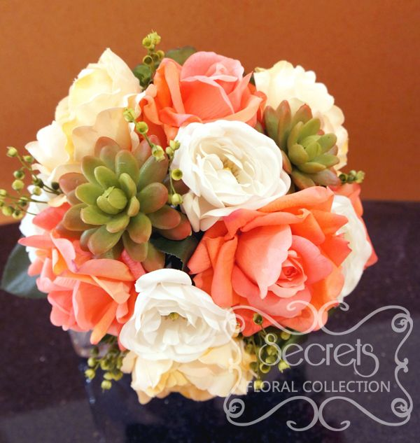 Coral And Pink Wedding Flowers: Bridal Bouquet With Coral Pink Roses, White Ranunculus