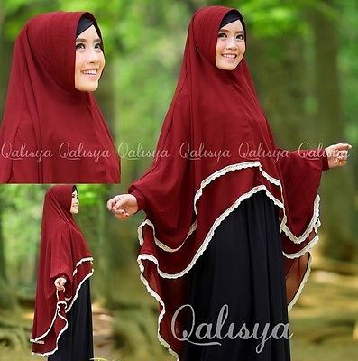 Maroon-Red-Yumna-Instant-Hijab-w-Sleeves-Khimar-One-Piece-Hijab-Slip-On-Abaya