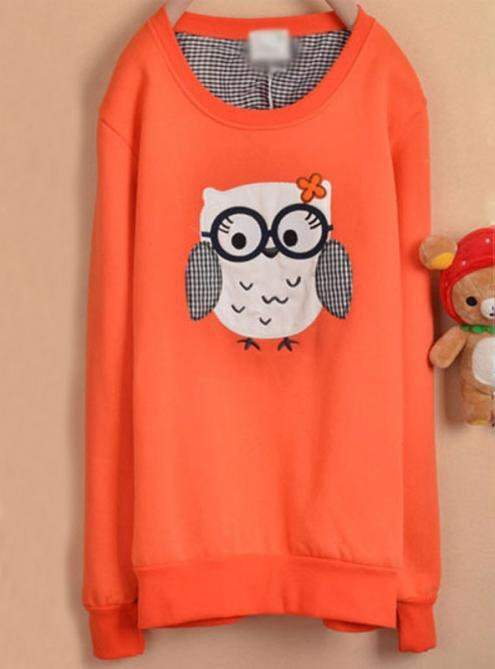 Orange Owl Cartoon Fleece Sweatshirt$39.00