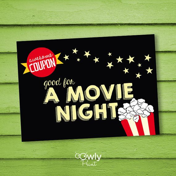 320 best deals coupon finder images on pinterest coupon finder printable movie night coupon card pdf invitation by owlyprint fandeluxe Choice Image