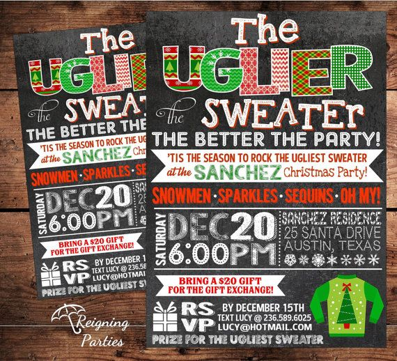 ugly sweater christmas holiday party invitation digital file on etsy 2000 - Ugly Sweater Christmas Party Invitations