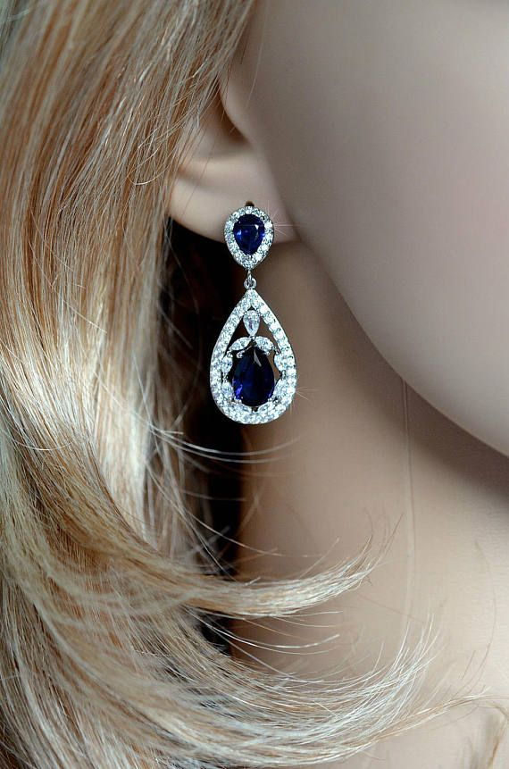 Striking Handmade Sapphire Cubic Zirconia CZ Dangle Bridal