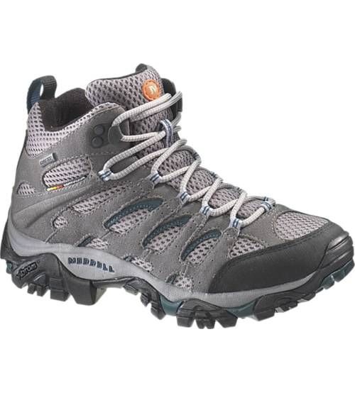 Merrell - Women's Moab Mid Gore-Tex  The mid-height version of Merrell's Moab hiking boot is now an even better match for summer spritzers or downpours with the addition of an Aegis® antimicrobial-treated GORE-TEX® lining to the GORE-TEX® construction of the leather-reinforced breathable mesh upper. Women's version includes QForm® stride alignment in the Merrell® air cushion midsole. Vibram® Multi-Sport Plus sole increases braking power at the heel for more demanding terrain