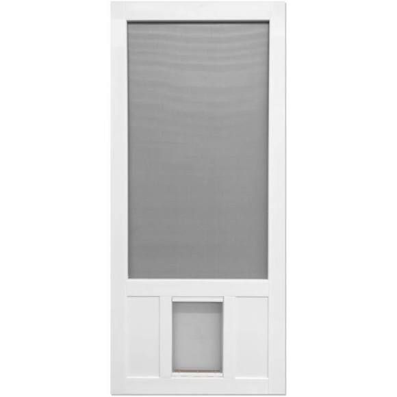 Exceptionnel Screen Tight Chesapeake White Vinyl Hinged Pet Door Screen Door 36 In X 80