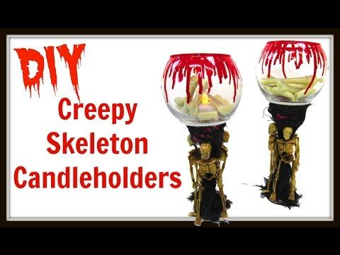 creepy skeleton candle holders diy project dollar store craft craft klatch how - Youtube Halloween Crafts